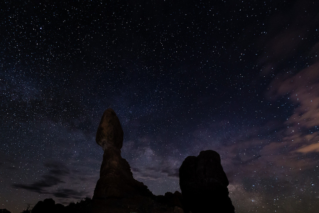 The Milky Way and Balanced Rock in Arches National Park. Clouds are starting to roll in and the Milky Way shots are becoming more difficult, but I loved the mood.