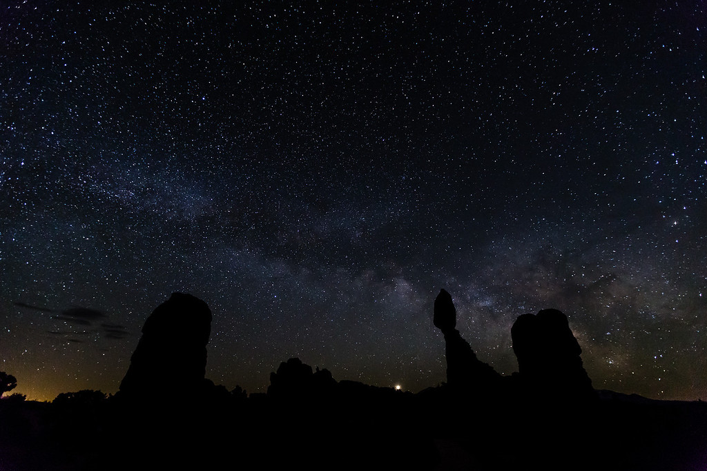 The Milky Way and Balanced Rock in Arches National Park. (The planet Venus is rising just to the left of Balanced Rock.)