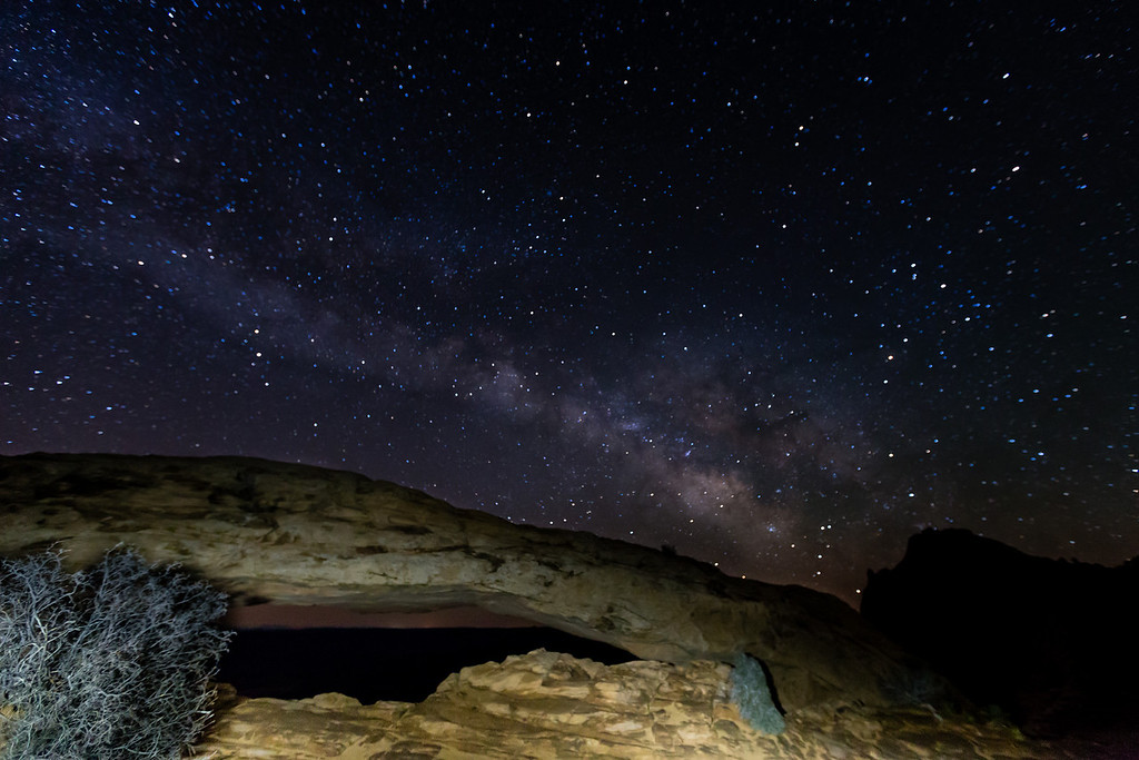 "The Milky Way over the Mesa Arch in Canyonlands National Park.<br /> The arch was ""light painted"" with a small flashlight."