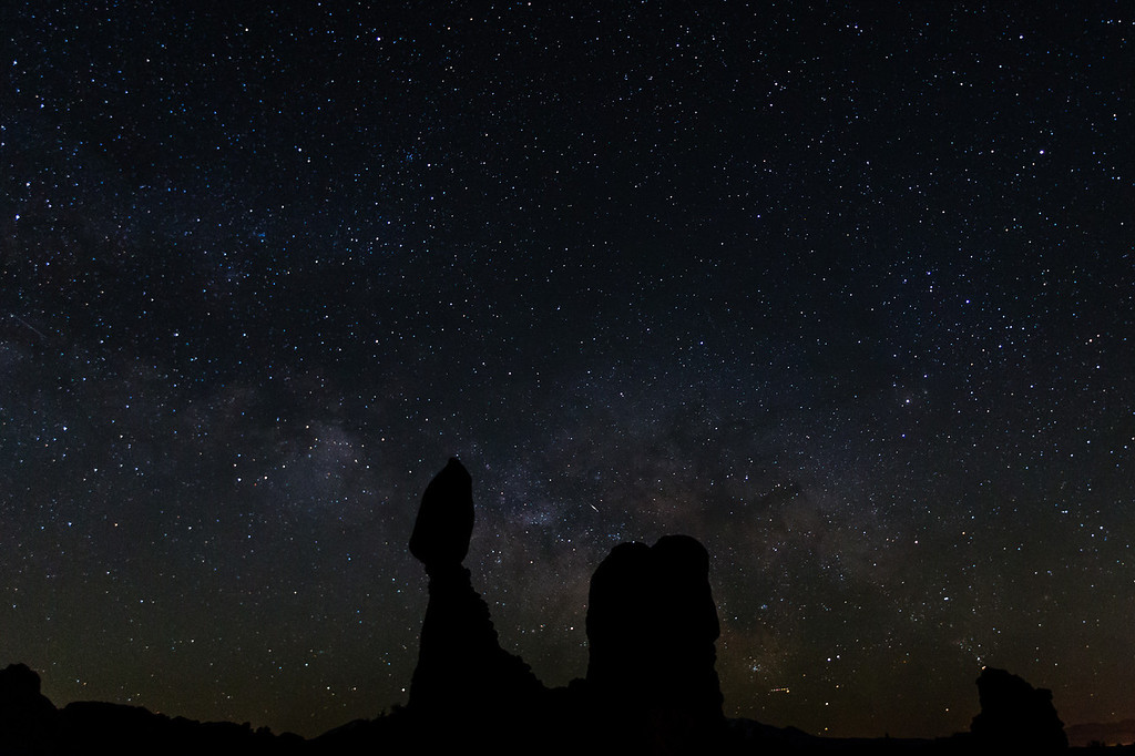 The Milky Way and Balanced Rock in Arches National Park.