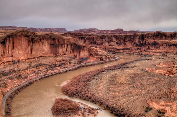 Highway 128 going South into Moab on a cloudy Spring day
