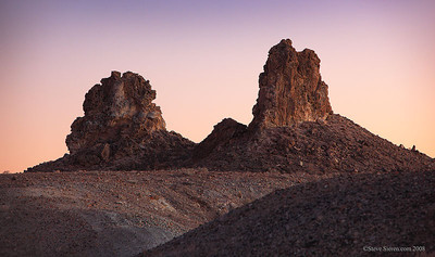 Monoliths at the Trona Pinnacles in Searless Valley, Mojave Desert, California.