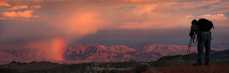Rainbow in Valley of Fire with Tramp Ridge in the background.