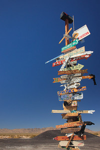 Road side sign in the Mojave Desert.