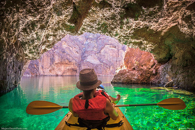 Colorado River Kayaker - Emerald Cave Mojave Desert - Arizona Nevada Recreation