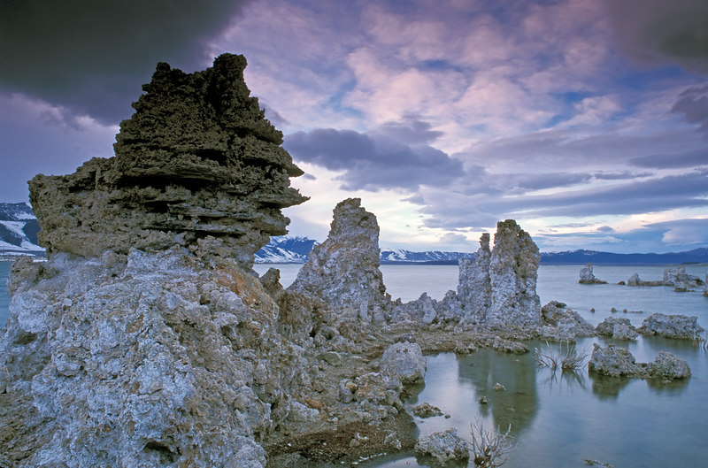Large Tufa formation at dusk.  Mono Lake, California
