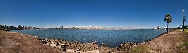 The City of Long Beach, California.  11-shot Panorama.