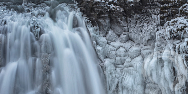 Detail at Gulfoss, a waterfall on the Golden Circle route.