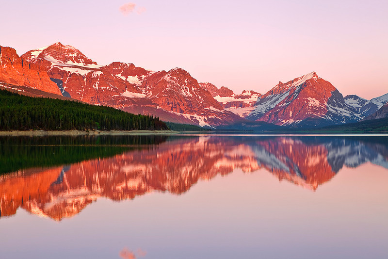Montana, Glacier National Park, Many Glaciers, Lake Sherburne, Sunrise, Reflection, Landscape, 蒙大拿, 冰川国家公园, 风景