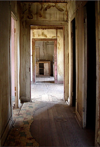 Bannack, Montana, first territorial captial.  Looking into the kitchen of one of the houses along the only street,  main street.