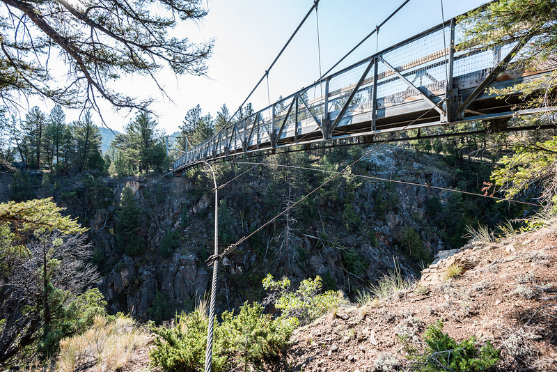 The suspension bridge over the Yellowstone River