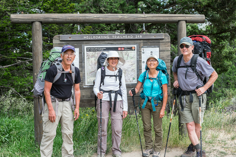 Dave, Stephanie, Jet and Scott starting backpack to Hellroaring Creek