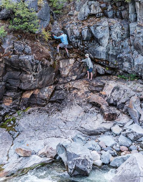 A little rock climbing in Hellroaring Creek canyon