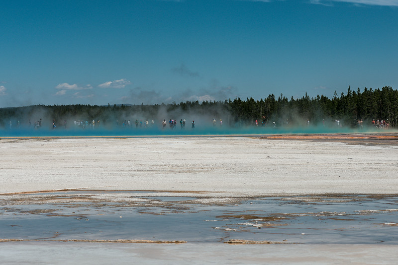 Grand Prismatic Spring boardwalk and tourists