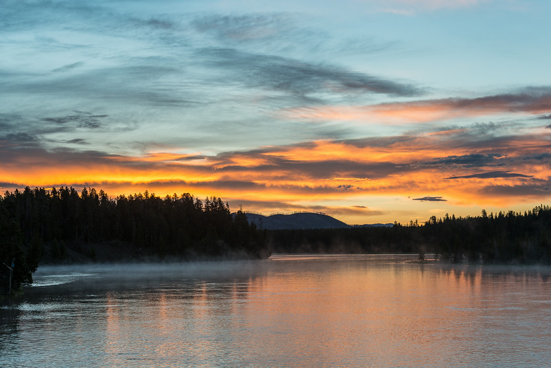 sunrise from Fishing Bridge, Yellowstone River