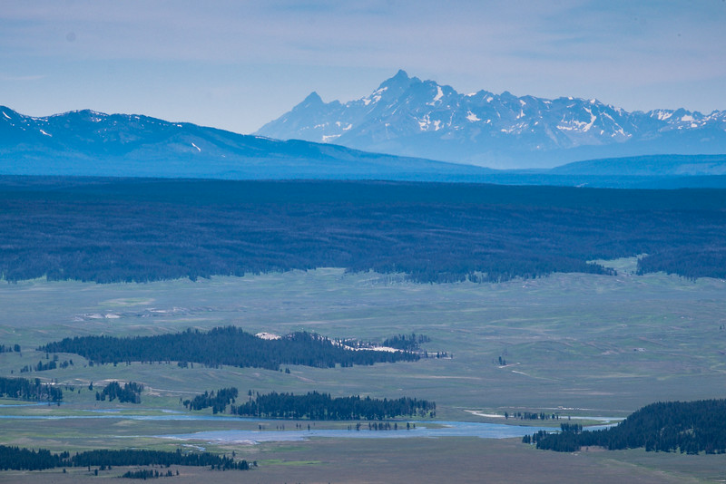 The Grand Teton from the top of Mt. Washburn, and Yellowstone River