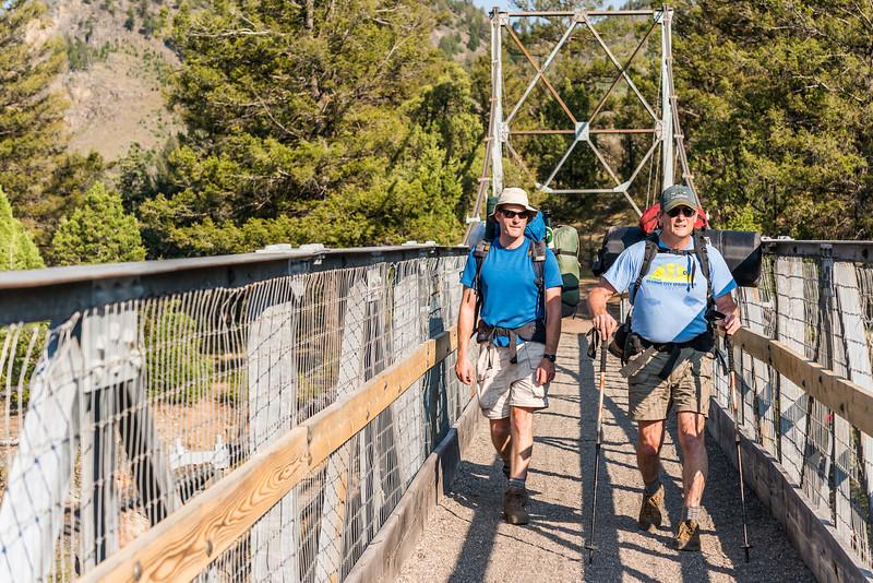 Suspension bridge over the Yellowstone River