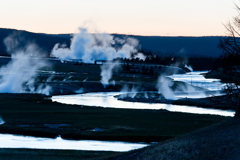 The Firehole River at dusk