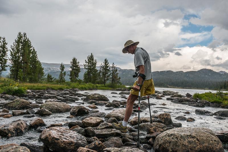 Steve crossing a stream at Island Lake