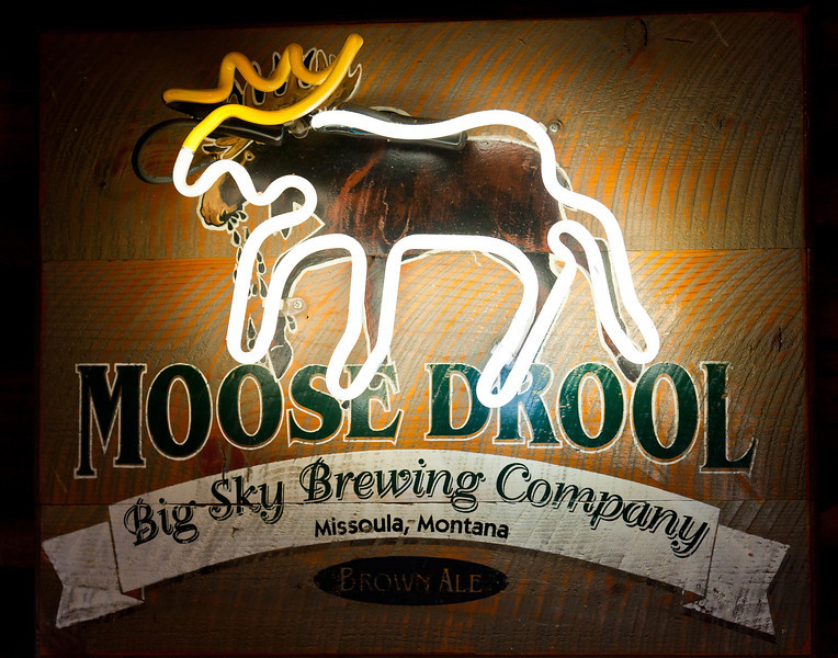 Moose Drool brown ale sign, Beartooth Cafe