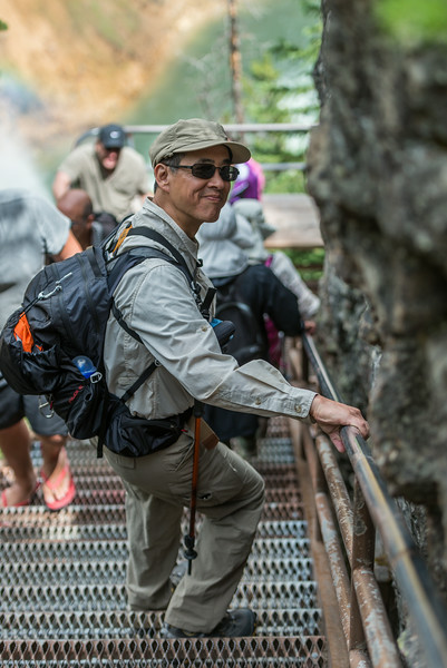 Ray on Uncle Tom's stairs, Yellowstone Canyon