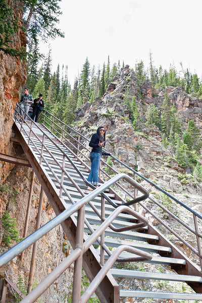 Sarah on Uncle Tom's Trail, Yellowstone canyon