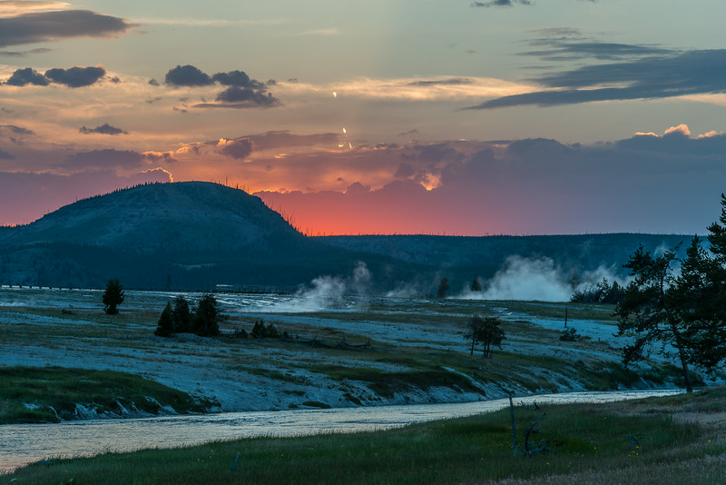 sunset over the Midway Geyser Basin
