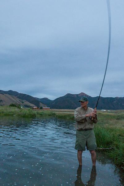Scott Kellermann with a nice trout hooked with a 12' Tenkara rod, no reel......