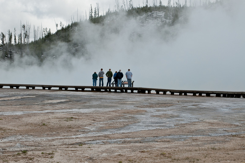 Tourists on the boardwalk, Midway Geyser Basin