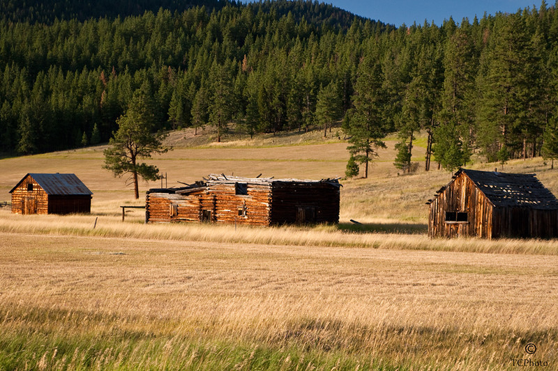 Barns of the past alon Hwy 200, East of Bonner, MT