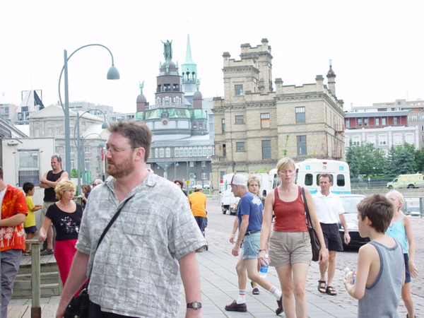 "People strolling, in summer time, in ""Vieux Montréal"""