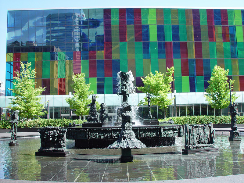 """Place Jean Paul Riopelle,the sculputure,called """"La Joute"""" created by the plaza's namesake,one of  the best canadian abstract-expressionist painter, and also a very famous sculptor."""