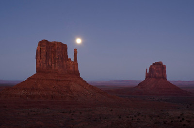 Even after sunset the rock glowed with color; I love the purple hills in the distance, beneath the rising moon.