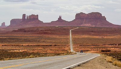 North entrance into Monument Valley. Luckily the hazy clouds softened shadows on the formations from this famous viewpoint.