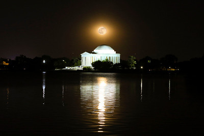 The full moon rising over the Thomas Jefferson Memorial on Memorial Day weekend.