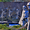 March 8, Korean War Memorial near the reflecting pool. While not as well publicized as the Vietnam Memorial it is every bit as beautiful and emotional. Images of the fallen look on as their comrade move by in statue form.