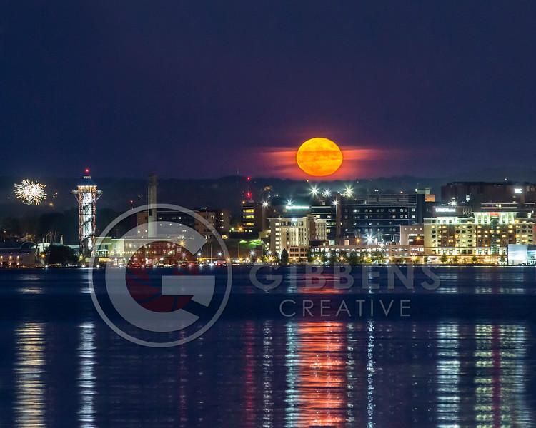 Full moon rising over the City of Erie