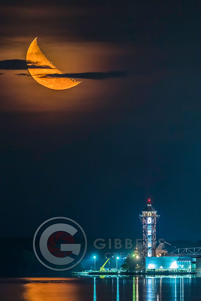 Half Moon over City Portrait