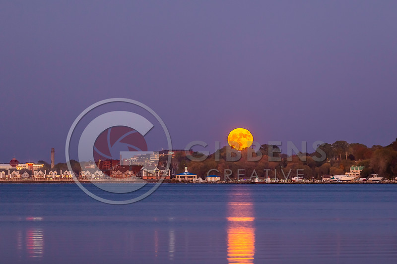 Halloween moon rising over the Erie Yacht Club