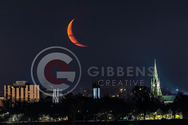 Moon over Gannon University, Church of the Covenant & Saint Peters Cathedral