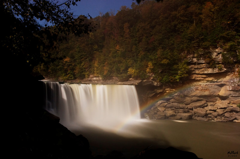 Moonbow at Cumberland Falls, Whitley/ McCreary County KY<br /> <br /> The Moonbow is only visible during a full moon and a day or two before or after.  It must be a clear night and there needs to be the right amount of water flowing over the falls (the moonbow shows up in the Fall's mist).