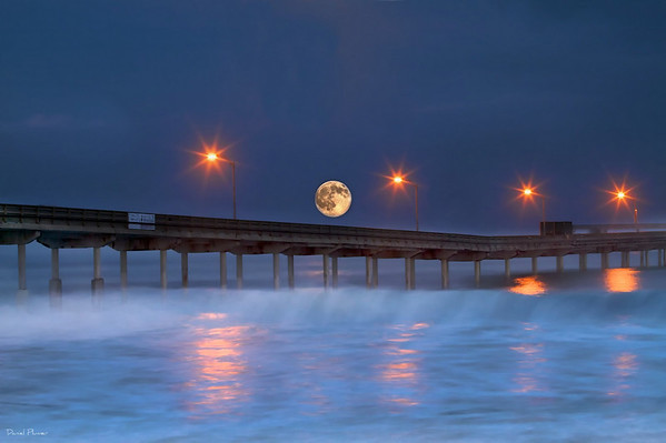 Moonset Over Ocean Beach Pier