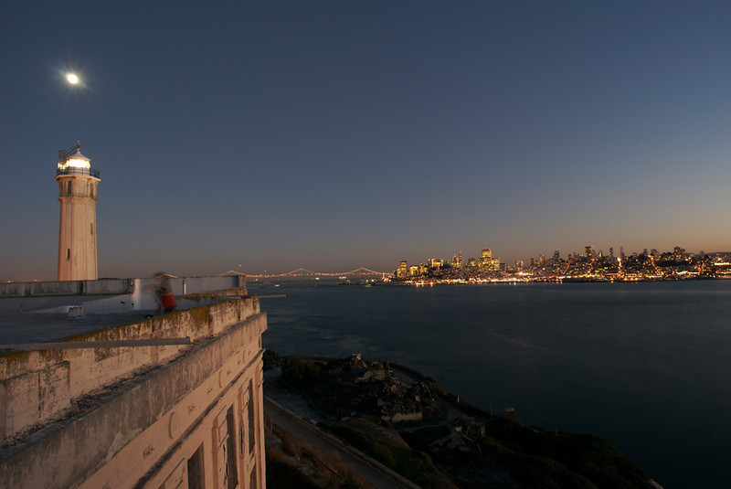 Moon over Alcatraz and San Francisco. single exposure.  Rare picture from the roof of Alcatraz.