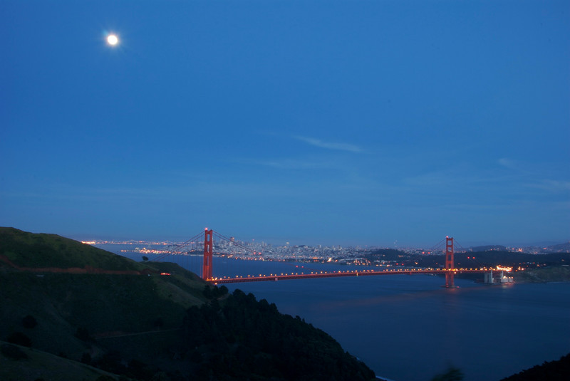 Golden Gate Bridge at Dusk with Moon from Marin Headlands