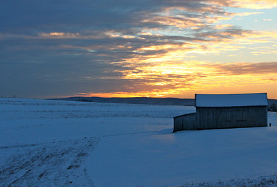 January 31, 2013 Snow, Barn, Sunset. Berkeley Springs, WV