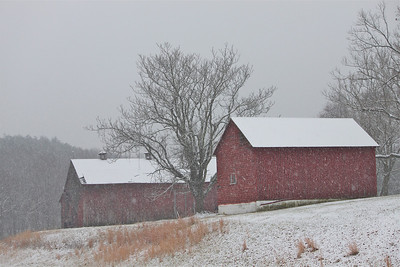 February 22, 2014. Wagon shed and barn in the snow.