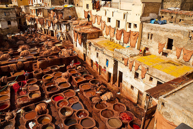 The largest leather tannery in Fez.