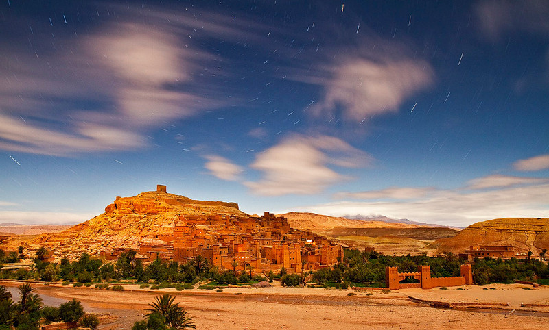 Star trails at Ksar Aït Benhaddou.