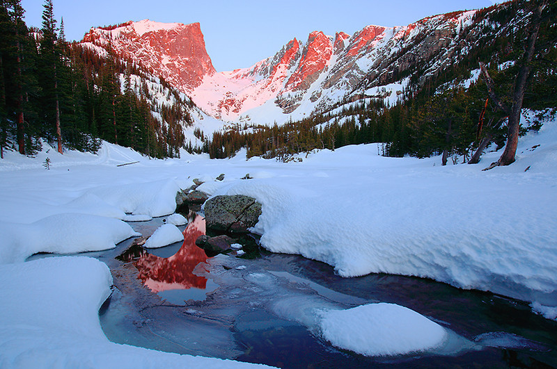 (RM-09010)  Winter sunrise at Dream Lake - Rocky Mountain National Park, Colorado.