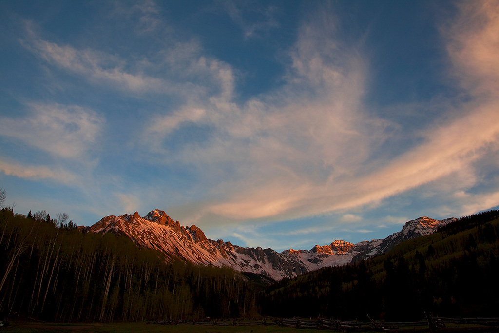 (SN-10012)  Evening Cirrus above Mount Sneffels - southwestern Colorado.